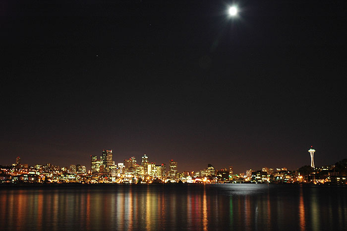 Night view of Seattle